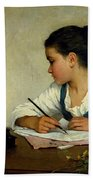 A Girl Writing. The Pet Goldfinch Beach Towel