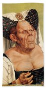 A Grotesque Old Woman Beach Towel