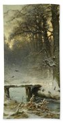 A January Evening In The Woods Beach Towel