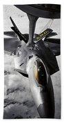 A Kc-135 Stratotanker Refuels A F-22 Beach Towel
