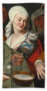 A Lady Holding A Swaddled Cat A Man With A Pan Of Porridge Another Playing With Fire Irons And Two O Beach Towel