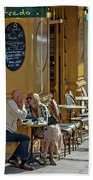 A Man A Woman A French Cafe Beach Towel by Allen Sheffield