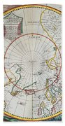 A Map Of The North Pole Beach Towel by John Seller