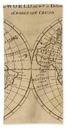 A Map Of The World With The Voyage Of Robinson Crusoe Beach Towel
