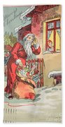 A Merry Christmas Vintage Greetings From Santa Claus And His Gifts Beach Towel