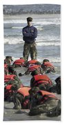 A Navy Seal Instructor Assists Students Beach Sheet
