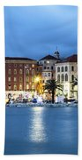 A Night View Of Split Old Town Waterfront In Croatia Beach Towel