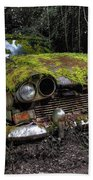 A Non Rolling Car Gathers Some Moss Beach Towel
