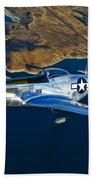 A North American P-51d Mustang Flying Beach Towel