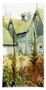 Watercolor Of An Old Wooden Barn Painted Green With Silo In The Sun Beach Sheet