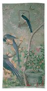 A Pair Of Magpie Jays  Vintage Wallpaper Beach Towel
