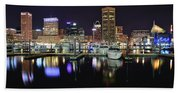 A Panoramic Baltimore Night Beach Towel