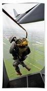 A Paratrooper Executes An Airborne Jump Beach Towel