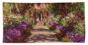 A Pathway In Monets Garden Giverny Beach Sheet