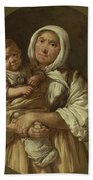 A Peasant Mother With Her Child In Her Arms Beach Towel