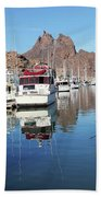 A Pelican Lands In The Old San Carlos Marina, Guaymas, Sonora, M Beach Towel