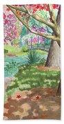 A Quiet Stroll In The Japanese Gardens Of Gibbs Gardens Beach Towel