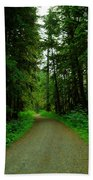 A Road Through The Forest Beach Towel