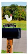 A Rooster Above A Mailbox 3 Beach Towel