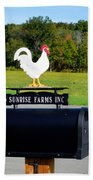 A Rooster Above A Mailbox 4 Beach Towel