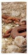 A Rusty Chain And Hook Beach Towel