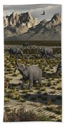 A Sabre-toothed Tiger Stalks A Herd Beach Towel by Mark Stevenson