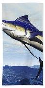 A Sleek Blue Marlin Bursts Beach Towel