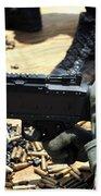 A Soldier Fires An M240b Medium Machine Beach Towel