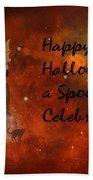 A Spooky, Space Halloween Card Beach Towel