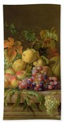 A Still Life Of Melons Grapes And Peaches On A Ledge Beach Towel