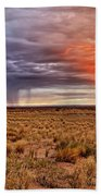 A Stormy New Mexico Sunset - Storm - Landscape Beach Sheet