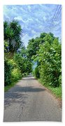 A Street Between Trees Beach Towel