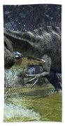 A Suchomimus Snags A Shark From A Lush Beach Towel