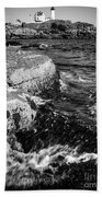 A Summer's Day At Nubble Light, York, Maine  -67969-bw Beach Towel