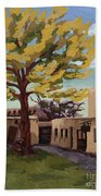 A Tree Grows In The Courtyard, Palace Of The Governors, Santa Fe, Nm Beach Sheet by Erin Fickert-Rowland