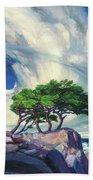 A Tree On The Seashore Reef Beach Towel