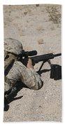 A U.s. Marine Zeros His M107 Sniper Beach Towel by Stocktrek Images
