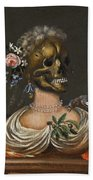 A Vanitas Bust Of A Lady With A Crown Of Flowers On A Ledge Beach Towel