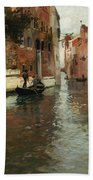 A Venetian Backwater  Beach Towel by Fritz Thaulow