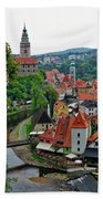 A View Of Cesky Krumlov And Castle In The Czech Republic Beach Towel