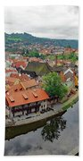 A View Of Cesky Krumlov And The Vltava River In The Czech Republic Beach Towel
