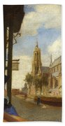 A View Of Delft With A Musical Instrument Seller's Stall Beach Towel