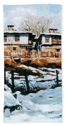A Village In Winter Beach Towel