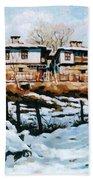 A Village In Winter Beach Sheet