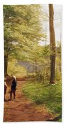 A Walk In The Forest Beach Towel by Niels Christian Hansen