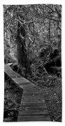 A Walk Through The Willowbrae Rainforest Black And White Beach Towel