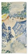 A Woman Seated At A Bench On The Avenue Du Bois Beach Towel