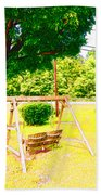 A Wooden Swing Under The Tree Beach Towel