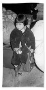 A Young Evacuee Of Japanese Ancestry Beach Towel by Stocktrek Images