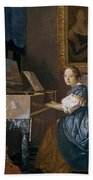 A Young Lady Seated At A Virginal Painting By Jan Vermeer